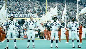 The Purple People-Eaters (L to R -- Carl Eller, Gary Larsen, Alan Page, Jim Marshall).